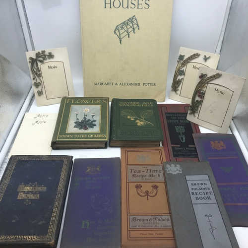 43 - A Collection of vintage Cook books and plant books. Includes vintage hand made menu holders, Brown &...