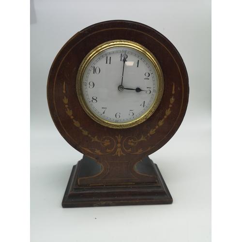 294 - An Edwardian inlaid mantle clock (non working)...