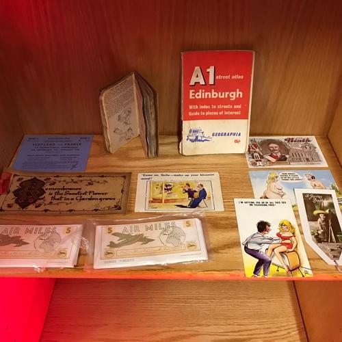 45 - A Lot of vintage comical postcards, Edinburgh Street atlas, Scotland V France 1956 rugby ticket & Or...