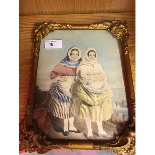 46 - A Victorian Coloured print of two ladies standing side by side. Fitted within an antique moulded gil...