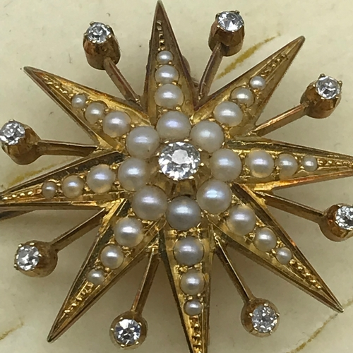 11 - A Beautiful example of an Antique gold brooch/pendant in the shape of a star burst. The brooch is se...
