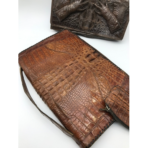 16 - 2 Vintage crocodile leather hand bags, one with a matching purse...