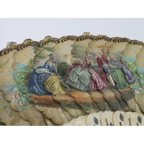 264 - A Victorian fan designed with ivory and a hand painted design throughout the folds...