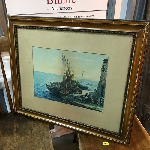313 - Early 1900's watercolour harbour scene, Signed Edwin Steele.