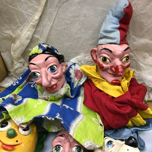 199 - A Collection of 1950s Punch & Judy range Pelham hand puppets. Includes Clown, Mr Turnip, Hangman, Do...