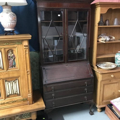 419 - Antique bureau bookcase....