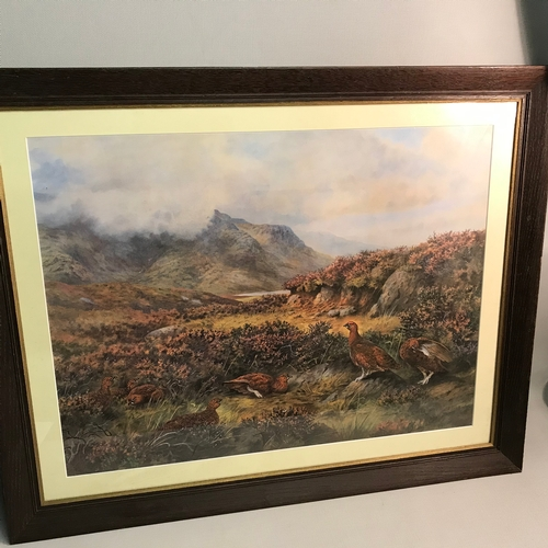 169 - A Large Grouse and highland scene print fitted within an oak frame. Measures 68x84cm...