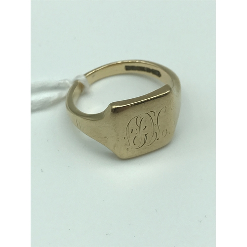 4 - A 9ct gold signet ring, Size R. Weighs 6.68grams...
