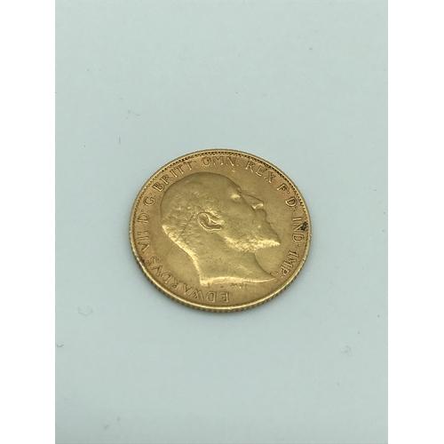 8 - 1907 gold half sovereign coin....