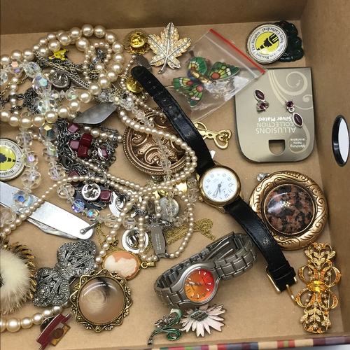 33 - A Box of costume jewellery and watches which includes  Rolled Gold jewellery...