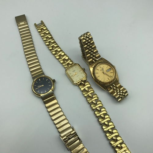 35 - A lot of 3 ladies watches includes 2 Seiko Quartz and 1 Rotary watch....