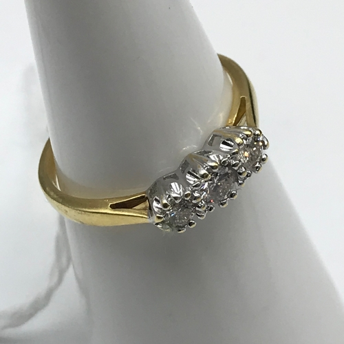 41 - 18CT Gold 0.25CT Diamond ring, 3 Bright Diamonds. Size L....