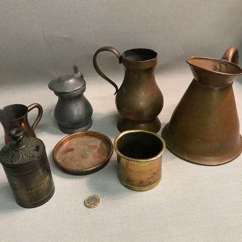 202 - A Lot of antique brass, pewter and copper wares includes copper jugs, Shirley Avis & Co Ltd crested ...