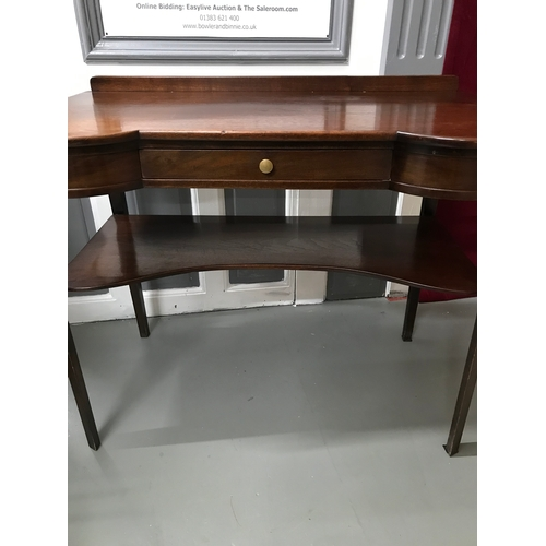 10a - A Victorian Mahogany two tier console table. Fitted with single under drawer. Measures 73x91x50cm...