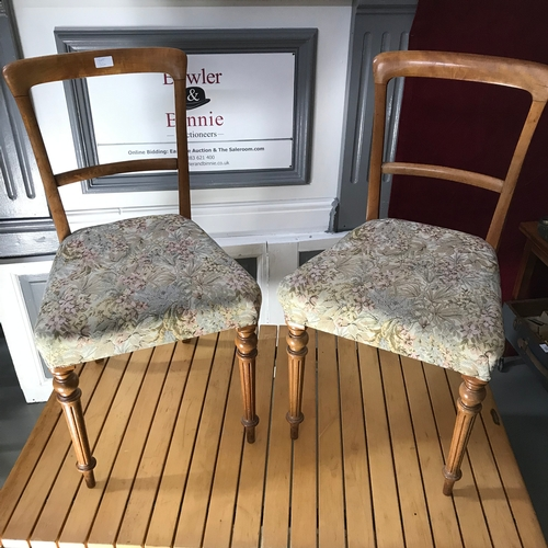 30a - A Pair of Victorian dining chairs, upholstered with floral material and horse hair....