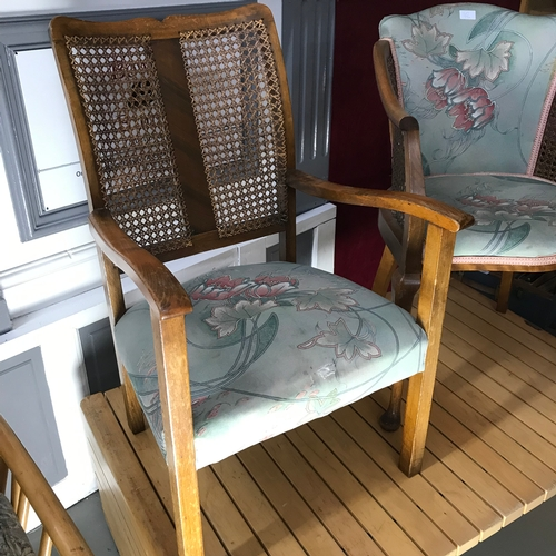 35a - A Pair of 1940's 50's bergere back and side bedroom chairs, upholstered with floral material....