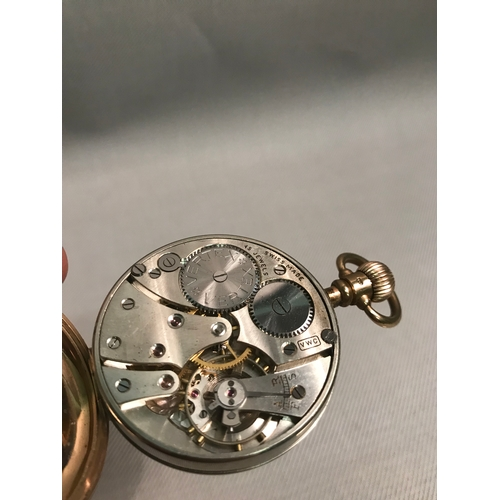 5b - A 9ct gold gents 15 Jewel Vertex pocket watch, Enamel white face with blue dial hands. Weighs 86.54g...