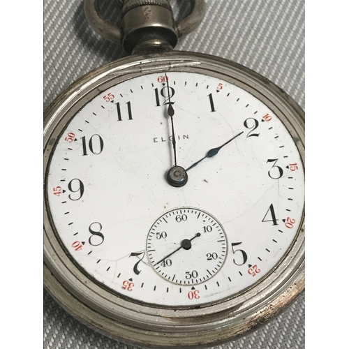 30b - A Victorian Silver cased Elgin 15 jewel pocket watch, Serial number 13823934, Designed with a Gold t...