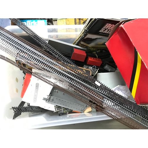 246 - Three boxes of railway track and station display items to include Hornby...