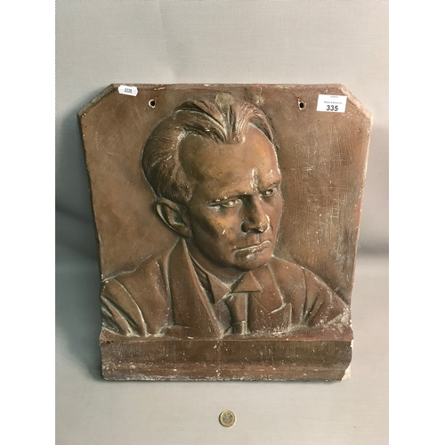 335 - Antique bronze effect plaster memorial wall plaque, signed by the artist...