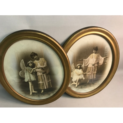 378 - A lot of two Art Nouveau photographs capturing a Mother & Daughter, fitted within oval gilt frames...