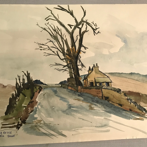 386 - A collection of six original watercolours by G.T Strath, depicting Loch Fitty, Townhill, Dollar, Bei...