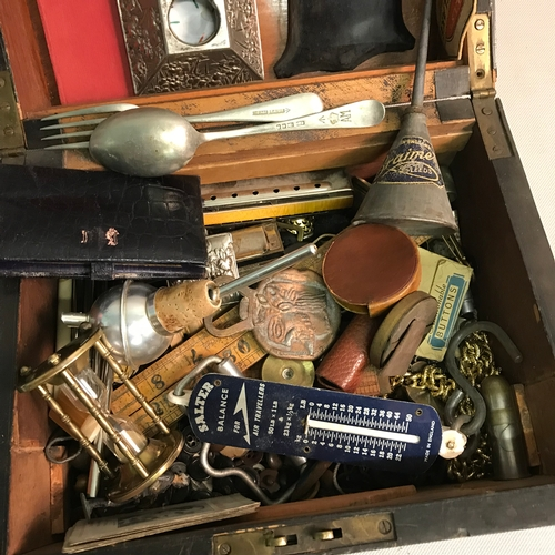 458 - A Document box filled with various collectables, Includes Buttons, Coins, Military spoon & Fork, Sal...