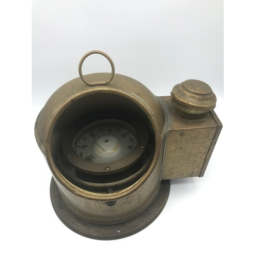 70B - A Sestrel brass cased ships binnacle with compass, Measures 23x26x21cm...