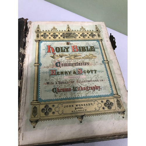 117 - A Victorian Bible, leather and brass bound, Printed by John McGready, Depicting a series of illustra...