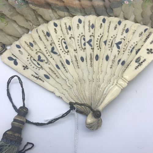 3 - A Victorian ladies fan, hand painted with Victorian figures, Handle is made from bone, Finished with...