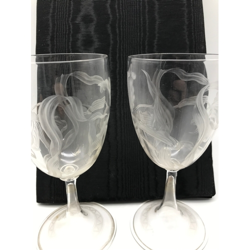 46 - A Beautiful Pair of early 1900's wine goblets, etched in an art nouveau floral form, Measures 17.1cm...