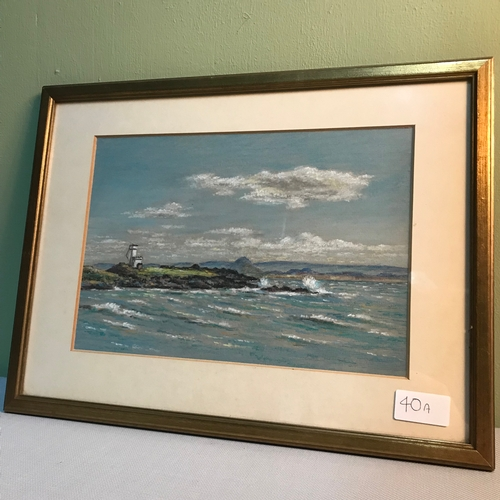 40a - Original pastel drawing of The light house at Ellie Ness by Reg Butler, dated 1983, Frame measures 3...