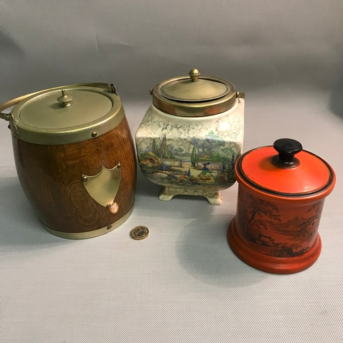 13 - Orange Adams Tunstall preserve pot and lid, Ep and oak tea caddy & Sandland ware tea caddy....