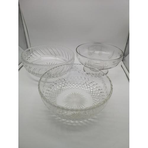15 - A lot of three crystal bowls...