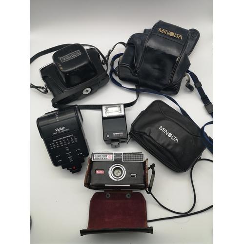 20 - A lot of various cameras and equipment to include names such as; Yashica, Minolta, Kodak & Vivitar...