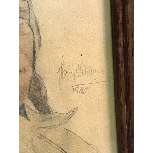 22 - Original WW2 drawing of German Major Hermann Buchner, signed by the artist and dated 1940, Fitted wi...