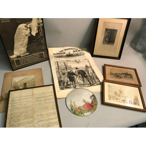 23 - A mixed lot to include, 'The Illustrated London News' newspaper, framed black & white pictures & han...