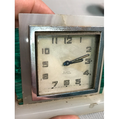 29 - Small Art Deco onyx and Malachite clock frame with fitted Hamilton & Inches Edinburgh time piece...