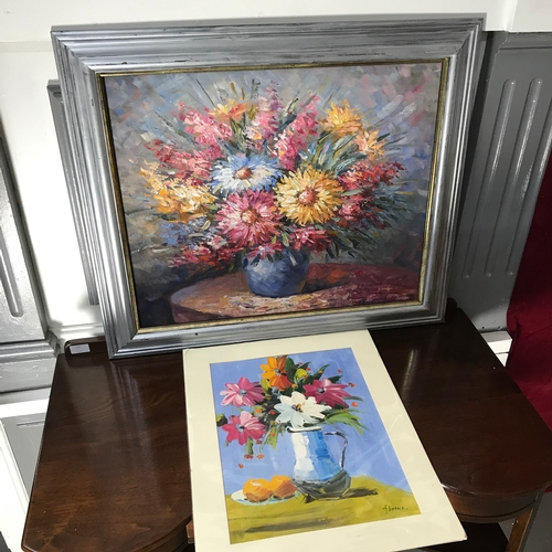 33 - Original oil painting still life flowers on canvas fitted within a silver frame,Together with oil pa...
