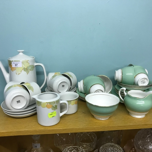 37 - One Coffee Set with leaf design to include Coffee Pot Cream and Sugar Bowl, Along with a Colclough T...