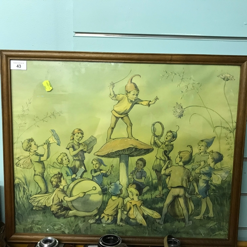 43 - Framed Vintage Print of a Fairy Band being Conducted By an Elf on a Mushroom....