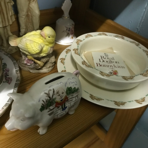 47 - Shelf of Collectables to include Duchess Tea Set, with serving and side plates, Royal Doulton Bunnyk...