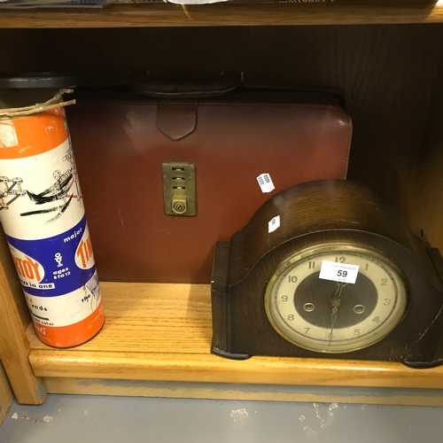 59 - A Vintage Leather Case, A Mantel Clock in need of a clean and a Vintage Building Game Tinkertoy....