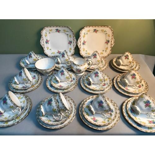 153 - A 41 Piece Grosvenor China floral design tea set....