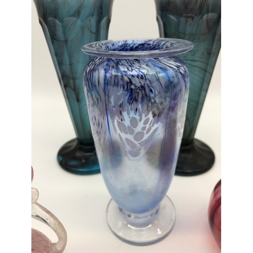 211 - A Lot of antique and vintage art glass which includes a pair of frosted blue glass vases, Victorian ...