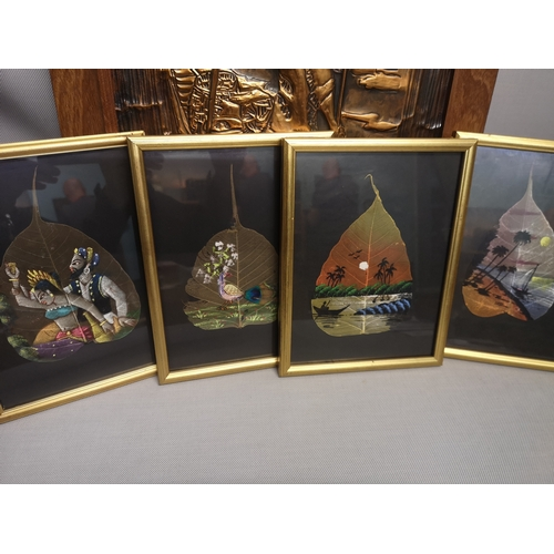 4 - A lot of four framed leaf pictures predominantly using the form of paint, together with a copper fra...