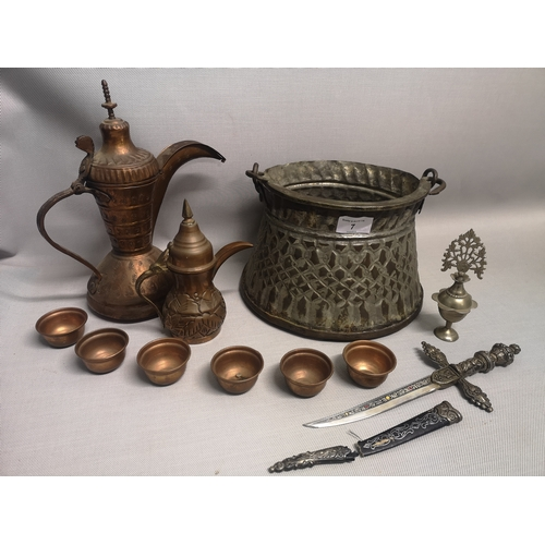 7 - A mixed lot to include oriental copper wares and ceremonial knife etc...