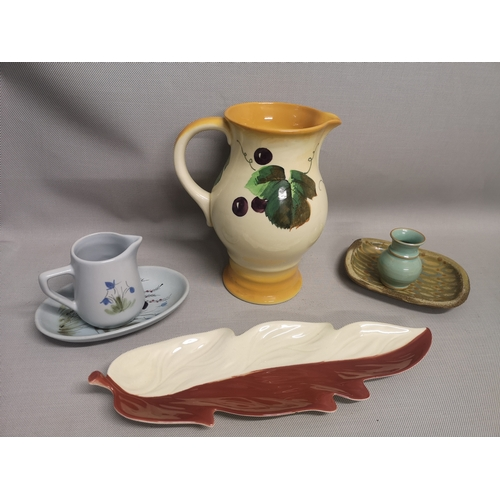 27 - A mixed lot of collectables to include a Royal Doulton Jug, Buchan jug and dish & Carlton ware leaf ...