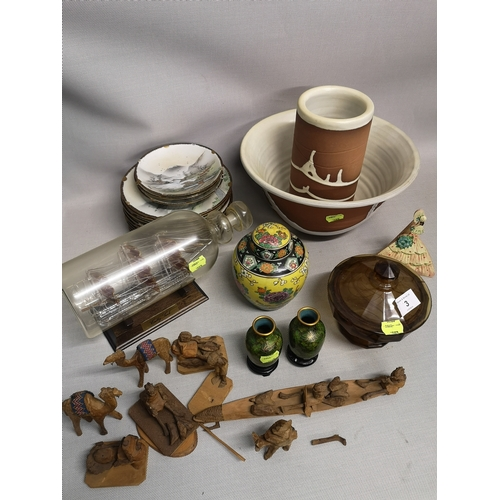 3 - A mixed lot of collectables to include oriental, porcelain and glass ware...