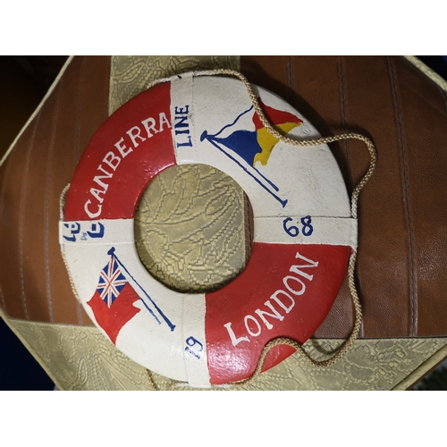 25 - A Hand made life buoy float to commemorate Canberra London 1968, Measures 17.5cm in diameter...